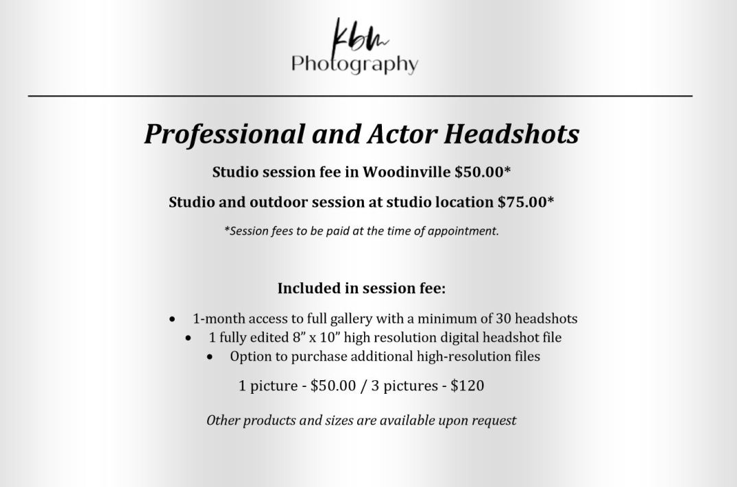 KBM Photography headshot price sheet