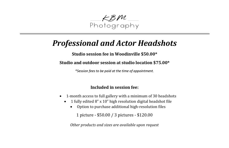 KBM Photography 2020 headshot price sheet