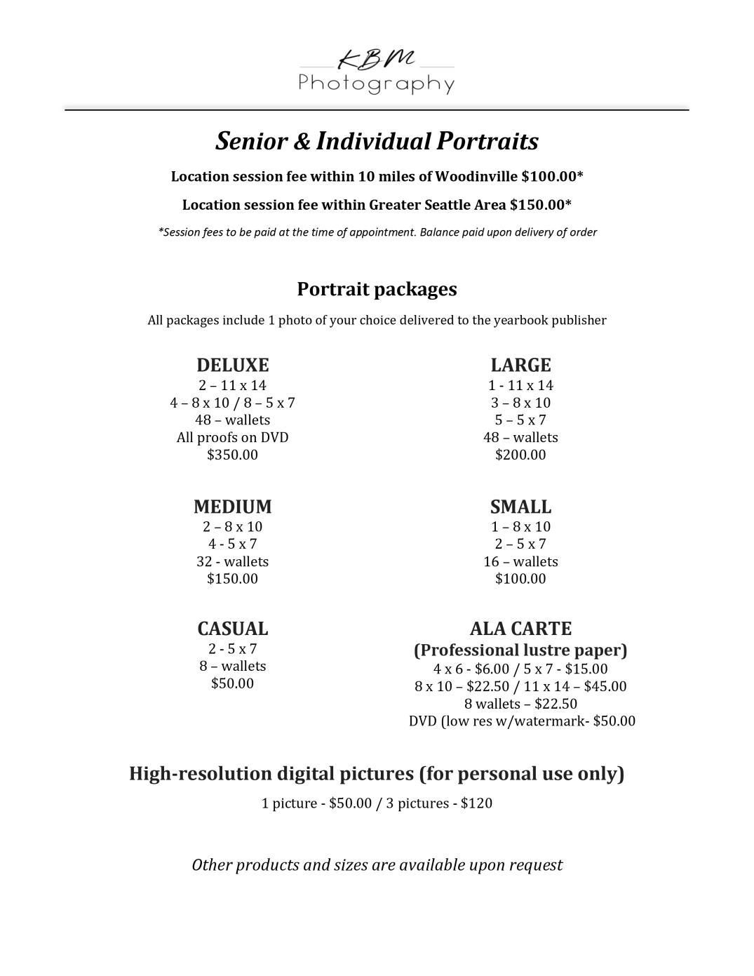 KBM Photography 2020 price sheet